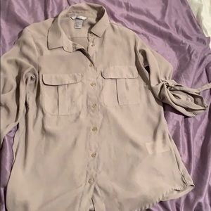 Taupe button down shirt